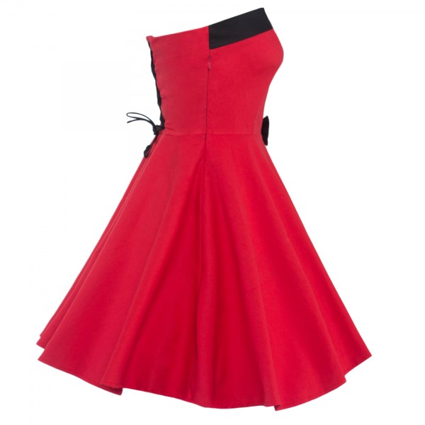 Rockabilly Vintage Lace-up Back Evening Party Classy Swing Dress CF1274 Red_10