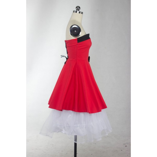 Rockabilly Vintage Lace-up Back Evening Party Classy Swing Dress CF1274 Red_06