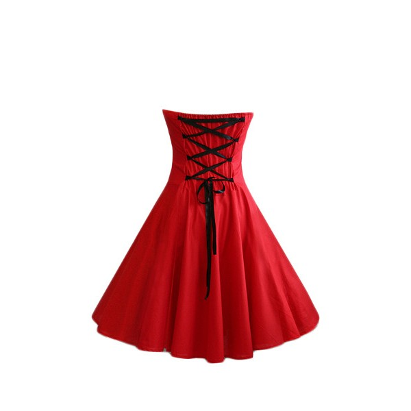 Rockabilly Vintage Lace-up Back Evening Party Classy Swing Dress CF1274 Red_03