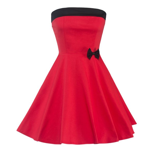 Rockabilly Vintage Lace-up Back Evening Party Classy Swing Dress CF1274 Red_01
