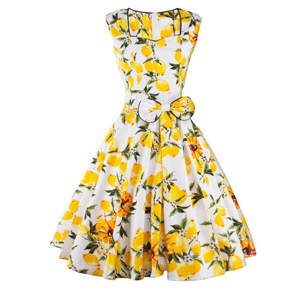Rockabilly Vintage Pinup Lemon Floral Print Bowknot Sleeveless Swing Dress CF1249_01