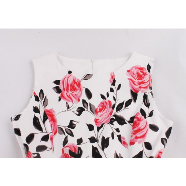 Rose Floral Round Neckline Vintage Sleeveless Casual Rockabilly Swing Dress CF1452 Pink_03