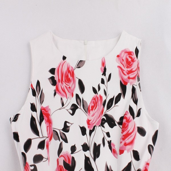 Rose Floral Round Neckline Vintage Sleeveless Casual Rockabilly Swing Dress CF1452 Pink_10