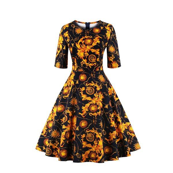 Round Neckline Vintage Half Sleeve Cocktail Casual Rockabilly Swing Dress CF1449 Gold_01