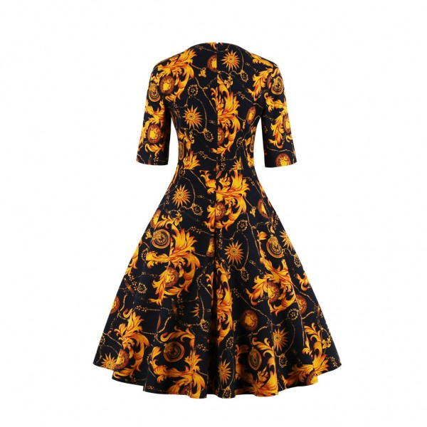 Round Neckline Vintage Half Sleeve Cocktail Casual Rockabilly Swing Dress CF1449 Gold_03