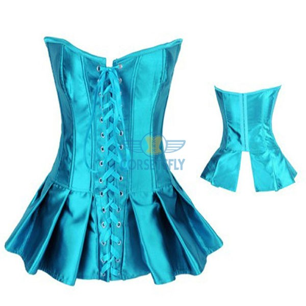 Ruffle Lace Up Front Hook Eye Closure Back Long Corset CF7107 Green_01