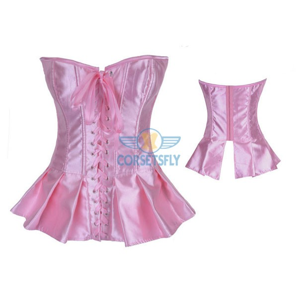 Ruffle Lace Up Front Hook Eye Closure Back Long Corset CF7107 Pink_01