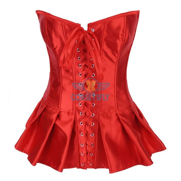 Ruffle Lace Up Front Hook Eye Closure Back Long Corset CF7107 Red