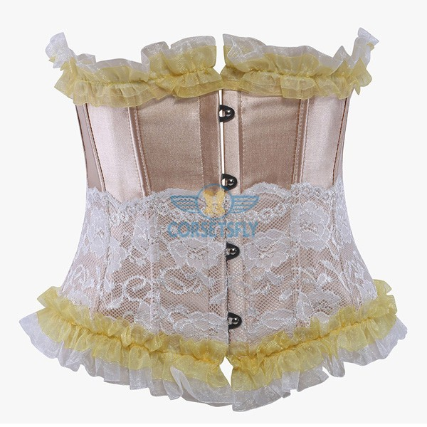 Ruffle Trim Lace Overlay Stainless Steel Busk Closure Underbust Corset CF5508 Beige