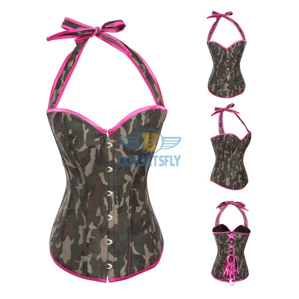 Sexy Adjustable Halter Satin Burlesque Lace Up Back Overbust Corset CF7026 Camo_01