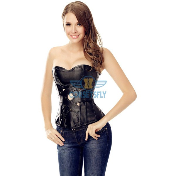 Sexy Black Leather Criss Cross New Design Strapless Overbust Corset CF5303_06