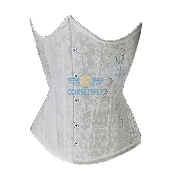 Sexy Classic Fashion Flower Tapestry Brocade Cinching Underbust Strapless Corset CF7517 White