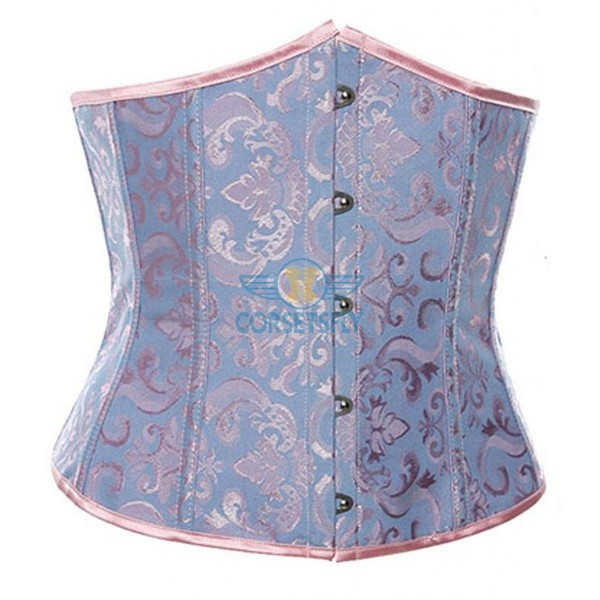 Sexy Classic Flower Print Tapestry Brocade Cinching Underbust Strapless Corset CF7519 Blue