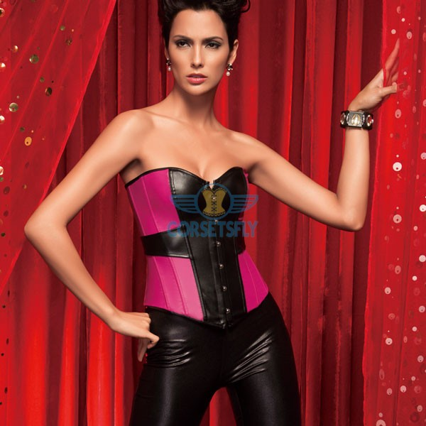 Sexy Faux Leather Front Busk Closure Pink Black Overbust Corsets CF5301