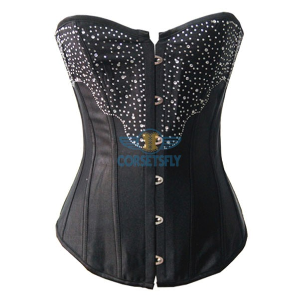 Sexy Fullbust Premium With Rhinestone Diamond Burlesque Masquerade Satin Corset CF7066 Black