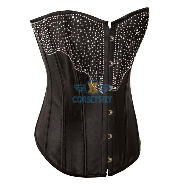 Sexy Fullbust Premium With Rhinestone Diamond Burlesque Masquerade Satin Corset CF7066 Black_01