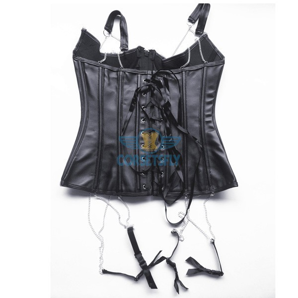 Sexy Garters Black Faux Leather Steampunk Zip Underbust Waspie Corset CF5329_07