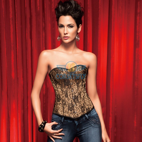 Sexy Golden Floral Pattern Print Exquisite Hook and Eye Corset CF5133 Beige