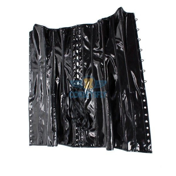 Sexy Gothic Steampunk Wet Look Leather Black Corset Long Dress CF7241_06