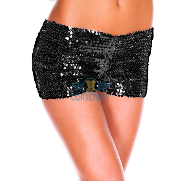 Sexy Hot Womens Glamorous Polyester Costume Accessories Sequin Booty Shorts CF6501 Black
