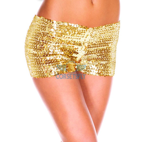 Sexy Hot Womens Glamorous Polyester Costume Accessories Sequin Booty Shorts CF6501 Gold