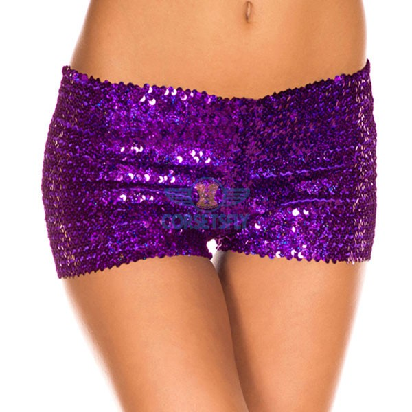 Sexy Hot Womens Glamorous Polyester Costume Accessories Sequin Booty Shorts CF6501 Purple