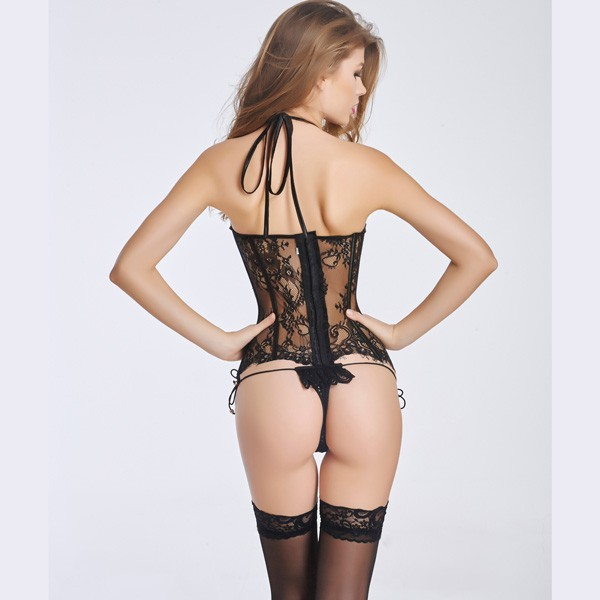 Sexy Lace Transparent Corset Bustier With Back Hook Eye Closure CF6014 black_05