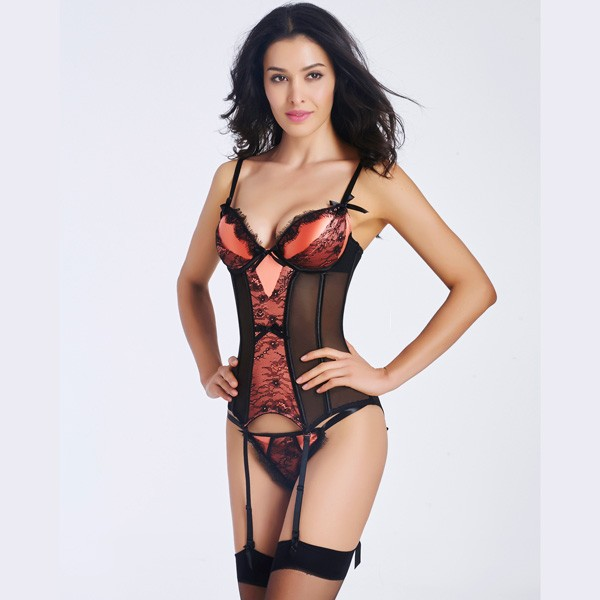 Corselette With Garters: Wholesale Sexy Lace Transparent Stain Overbust Corset
