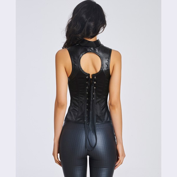 Sexy Leather Zipper Front With Underwire Cups Halter Overbust Corset CF6021 black_02