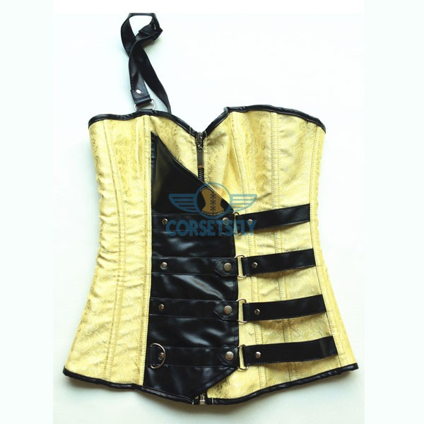Sexy One Shoulder Yellow Leather Embellishments Zip Closure Overbust Corset CF5046 Yellow_03