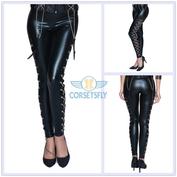 Sexy Punk Gothic Rock Chain Criss Cross Organza Lace Trousers CF6505_06