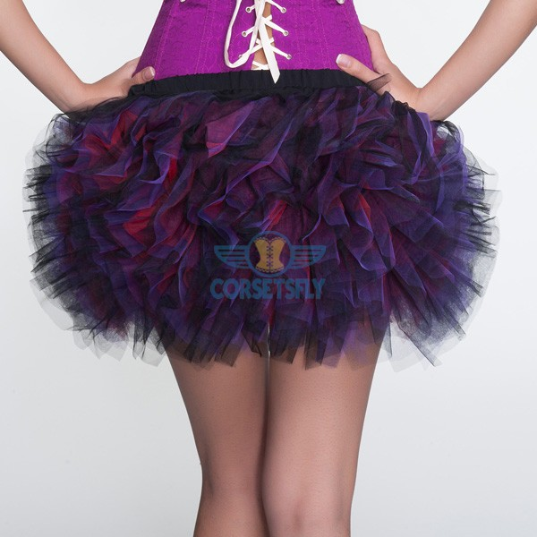 Sexy Purple Mini Lace Trim Ruffle Short Petticoat Waistband Tutu CF6511_02