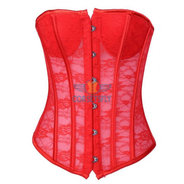 Sexy Seethrough Lace Bridal Wedding Front Busk Closure Overbust Corset CF7103 Red