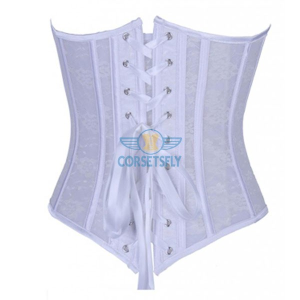 Sexy Seethrough Lace Bridal Wedding Front Busk Closure Overbust Corset CF7103 White_01