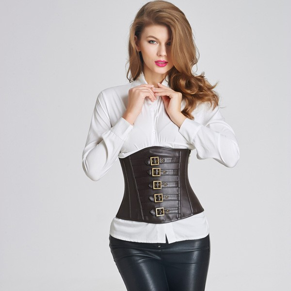 c8014544029 Sexy Side Zipper Leather Victorian Steampunk Zip Buckles Underbust Corset  CF6007 black ...
