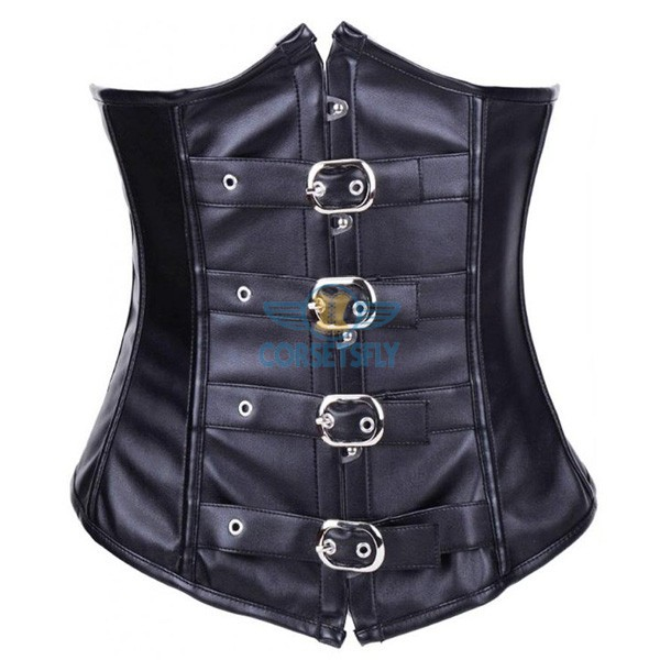Sexy Steampunk Faux Leather Buckle Up Waist Cincher Underbust Corset CF7231
