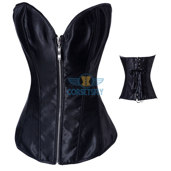 Sexy Style Romantic Love Zipper Push Up Black Corset Bustier CF7080 Black_01