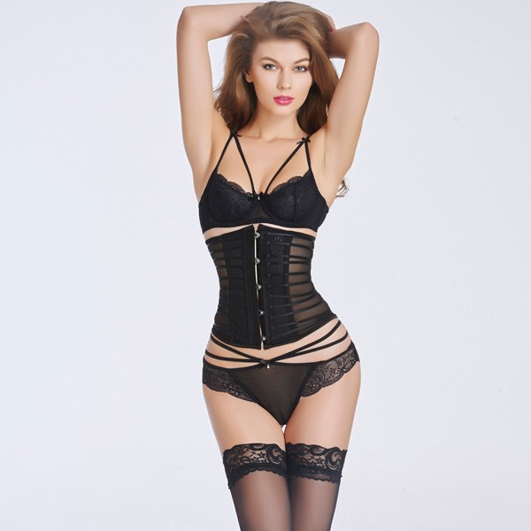Sexy Transparent Stain  Underbust Corset Bustier With Front Steel Busk CF6016 black