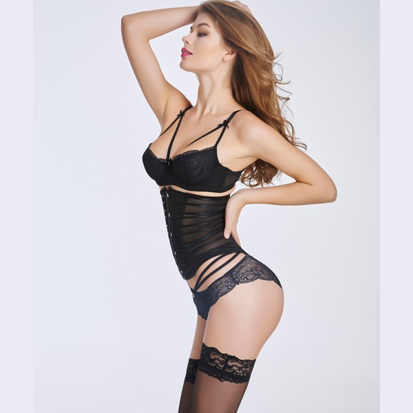 Sexy Transparent Stain  Underbust Corset Bustier With Front Steel Busk CF6016 black_02