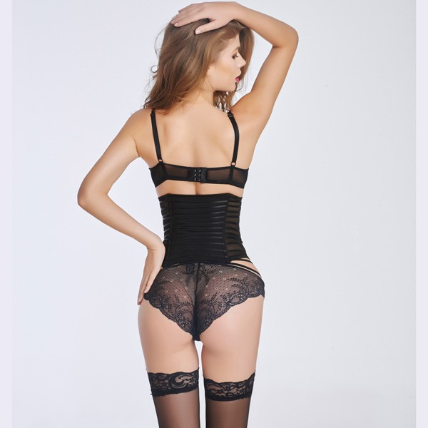 Sexy Transparent Stain  Underbust Corset Bustier With Front Steel Busk CF6016 black_01