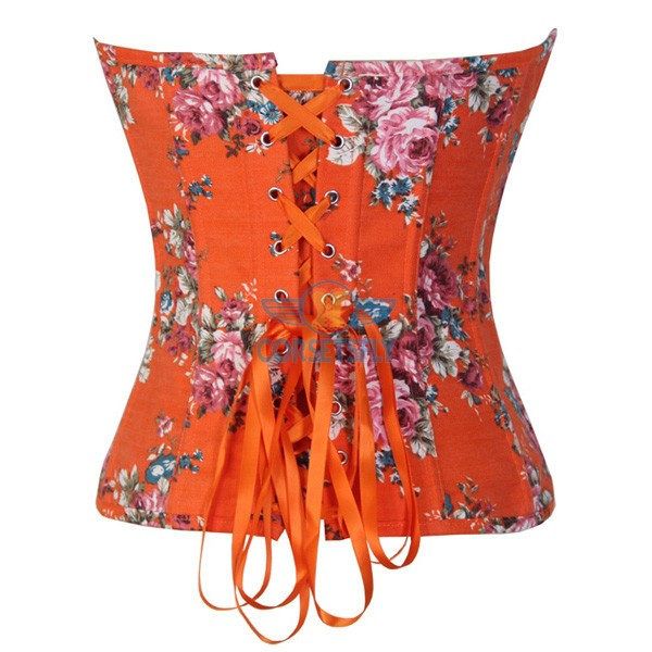 Sexy Women Vintage Country Sweet Flower Print Denim Overbust Corset CF7086 Orange_01