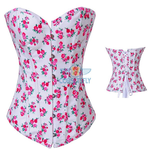 Sexy Women Vintage Country Sweet Flower Print Denim Overbust Corset CF7086 Pink_01
