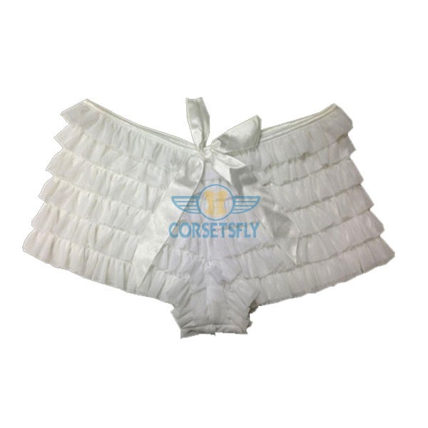 Sexy Womens Multi Layered With Bows Front White Ruffle Panty CF6514_01