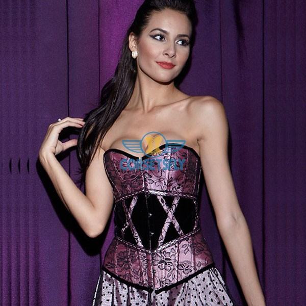 Shimmering Lace Overlay with Criss Cross Waist Detail Overbust Corset CF5018 Pink_02