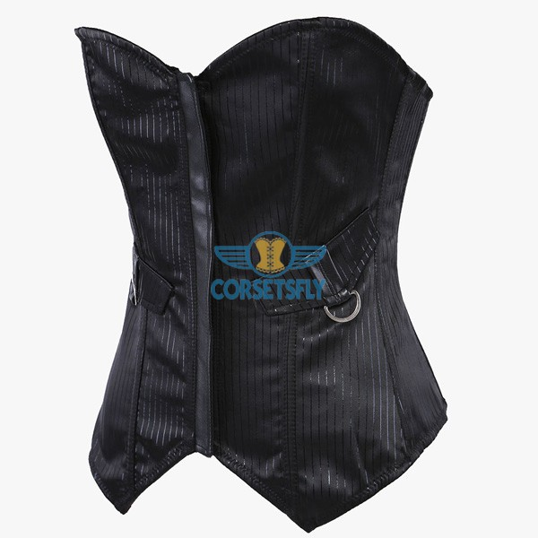 Shiny Denim Steel Straight Busk With Pocket Flaps Overbust Corset CF5033 Black_02