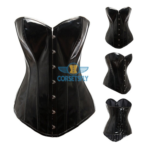 Shiny PVC Leather Rock Steampunk Gothic Wasit Training Overbust Corset CF7211_01