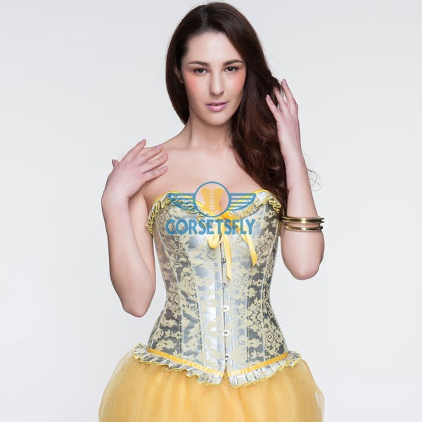 Silver and Yellow Patterned Ruffle Trim Bow Front Overbust Corset CF5042 Yellow_04