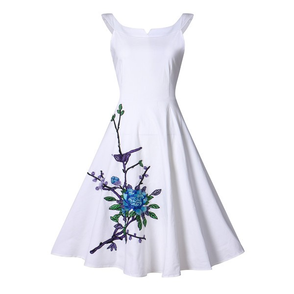 sleeveless swing 1950s floral audrey hepburn spring garden party dress cf1392 white_01 - Garden Party Dress