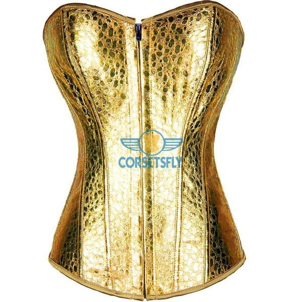Snake Skin Faux Leather Front Zipper Burlesque Masquerade Corset CF7216 Gold