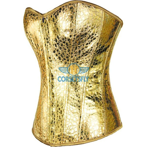 Snake Skin Faux Leather Front Zipper Burlesque Masquerade Corset CF7216 Gold_01